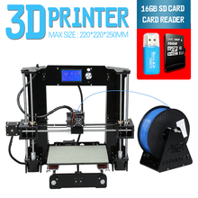 2016 Updated Anet A6 Size220*220*250mm3D Printer Kit Reprap Prusa i3 DIY 3Roll Filament 16GB SD Card Software& Video&Tool Free