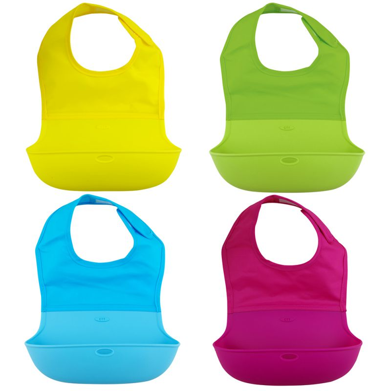 Soft Baby Bibs Waterproof Bibs Baby Feeding Apron Kids Baby Bibs Solid Nylon Silicone Feeding Bibs for Boy And Girl High Quality