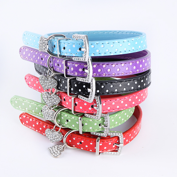 Polka Dot Pendant Leather Buckle Pet Dog Collar Puppy Cat Pet Spiked Neck Strap(China (Mainland))