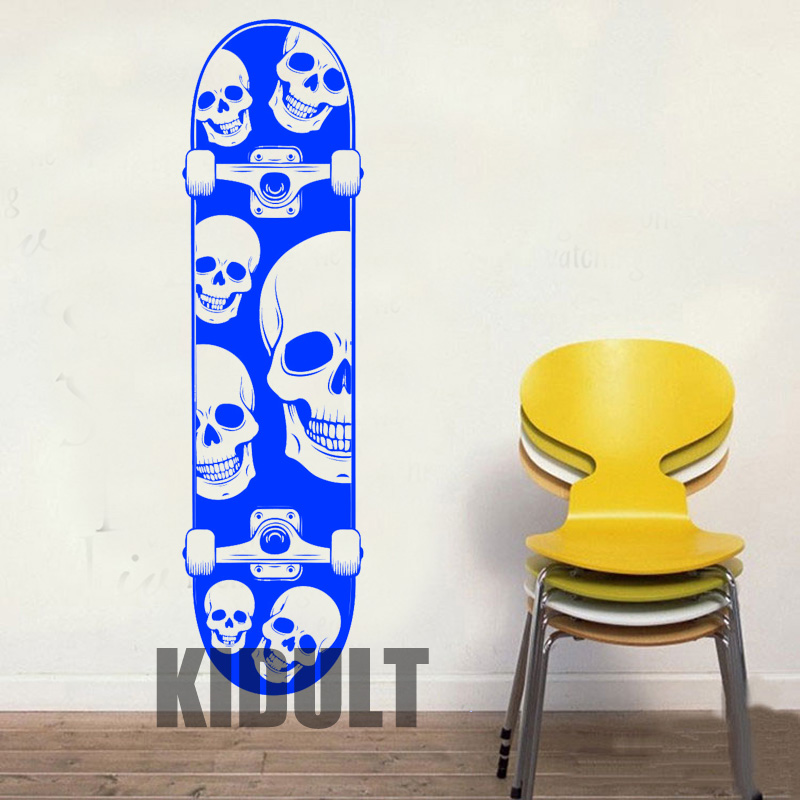 Creative Wall Decals Skateboard Skateboard Skull Wallpaper Family Home Child-room Art Deco Wall Stickers Vinyl Stickers