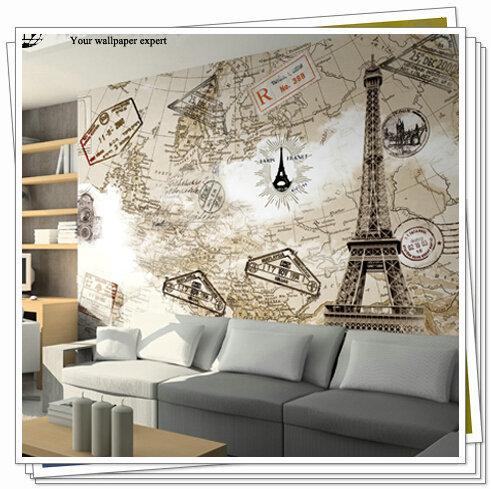 Grande mapa do mundo de parede 3d torre eiffel wallpaper for Wallpaper sala de estar