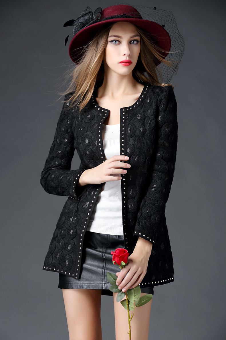 women jacket spring coat Spring new women cultivating wild sequined wool cardigan and long sections jacket Free shipping(China (Mainland))