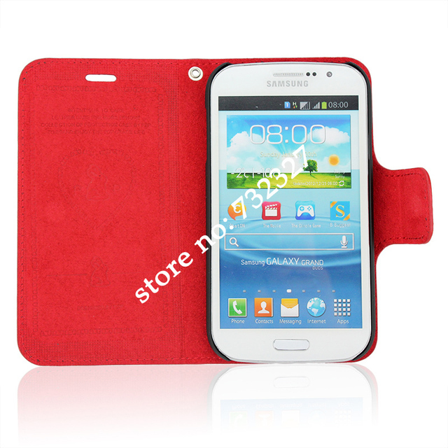 Hot Selling Free Shipping Magnetic Flip Open Stand Leather Cell Phone Cases for Samsung I9082 Different Colors