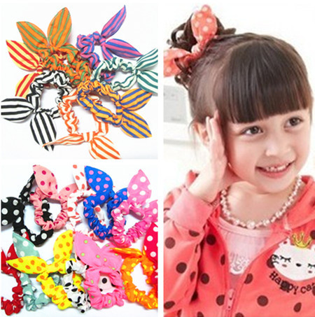 10 Pcs/lot New Arrival Mini Small Bunny Rabbit Ears Headband Hair Rope Rubber Bands Baby Girls' Kids Cute hair Accessories(China (Mainland))