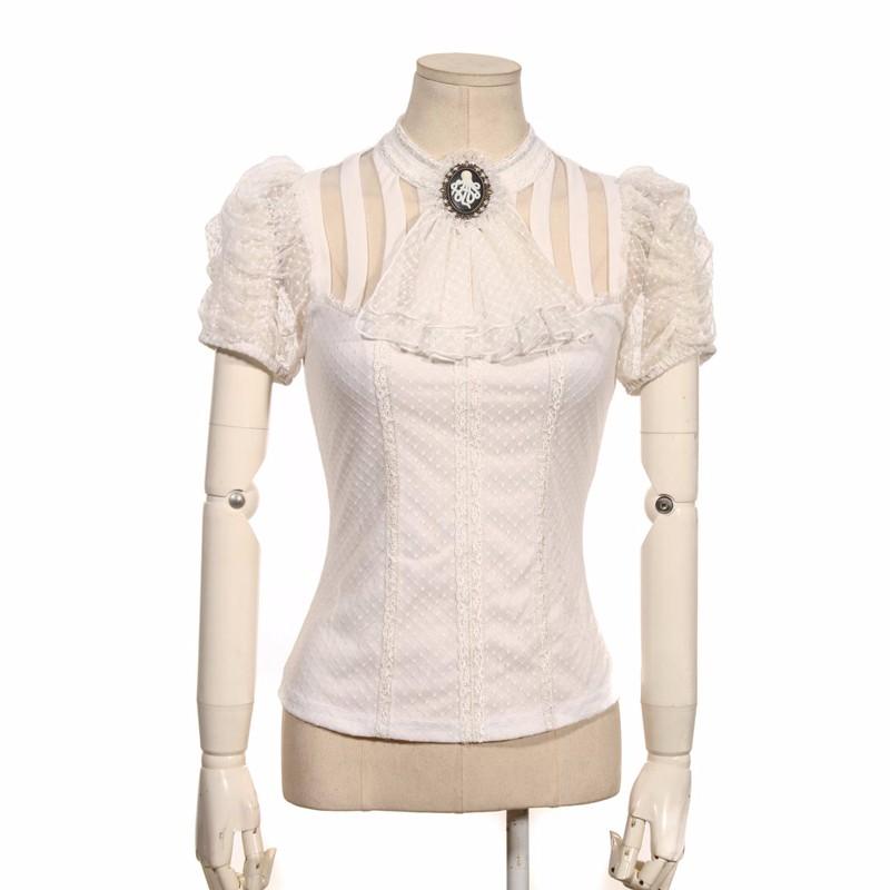 Vintage Victorian Steampunk Short Sleeve Blouse