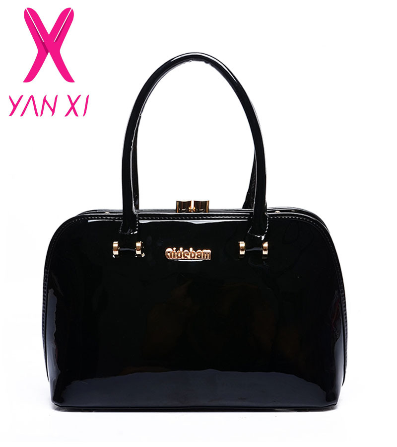 New 2015 luxury patent leather handbags fashion socialite lady shoulder bags genuine leather high quality diagonal