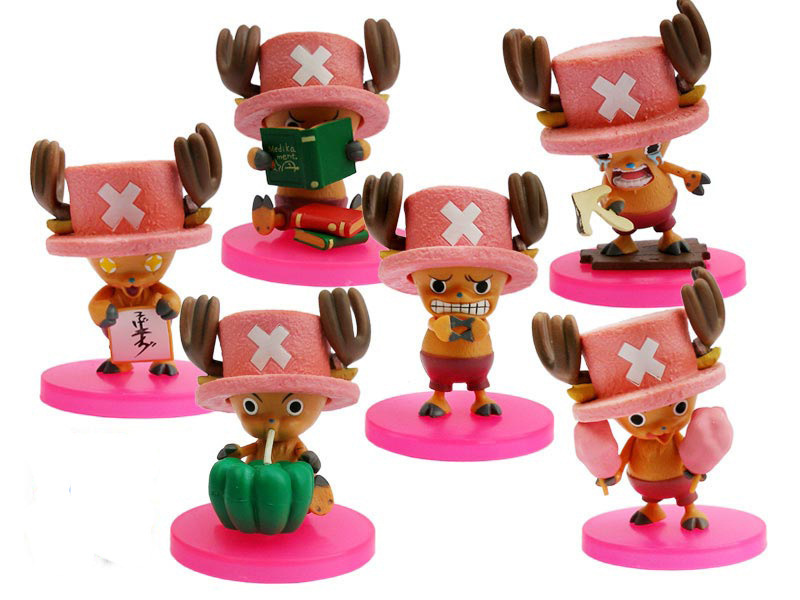 6pcs/ set new Japanese anime figure PVC doll toys One Piece Tony Tony Chopper cute facial expression 8.5CM free shipping(China (Mainland))