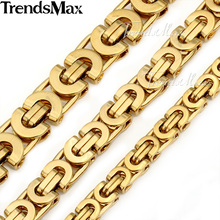 Buy Trendsmax Customized Length Gold Color Byzantine Stainless Steel Necklace Boys Mens Chain Necklace Fashion Jewelry KNW47 for $6.51 in AliExpress store