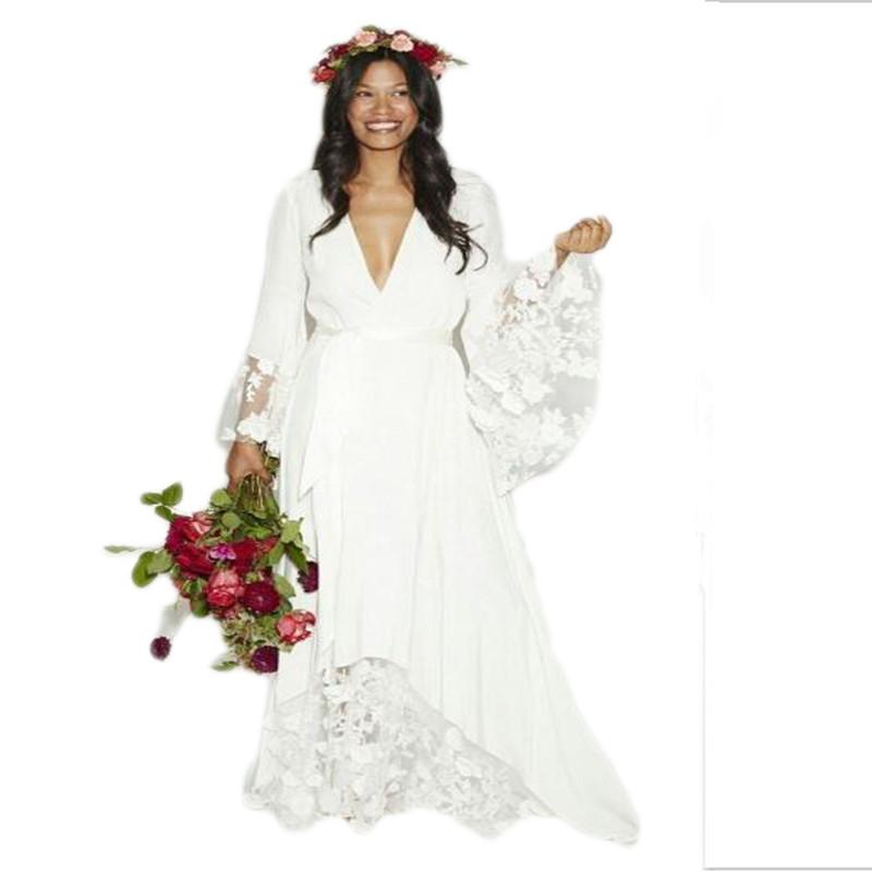 2016 new arrival fashion boho bohemian hippie style beach for Plus size hippie wedding dresses
