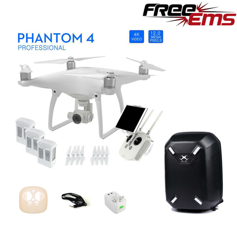 Free Shipping DJI Phantom 4 Quadcopter W/Extra Two Batteries + Hardshell Backpack Bag + More Via EMS
