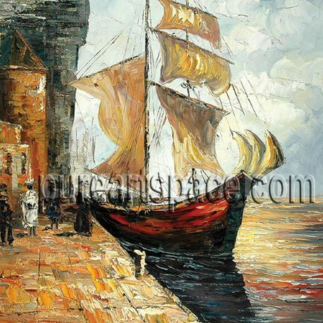 Boat by the riverside,High-quality Palette knife painting for decoration,support a wholesale price(China (Mainland))