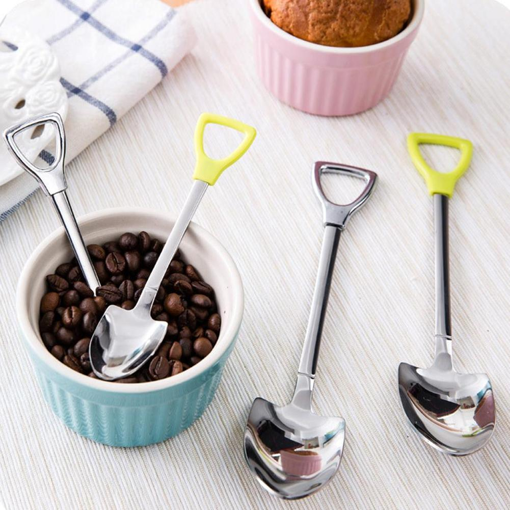 New Stainless Steel Spoon S M Size Shovel Shape Design Coffee Ice Cream Soup Honey Spoon Long Handle Tea Spoons for Kids(China (Mainland))