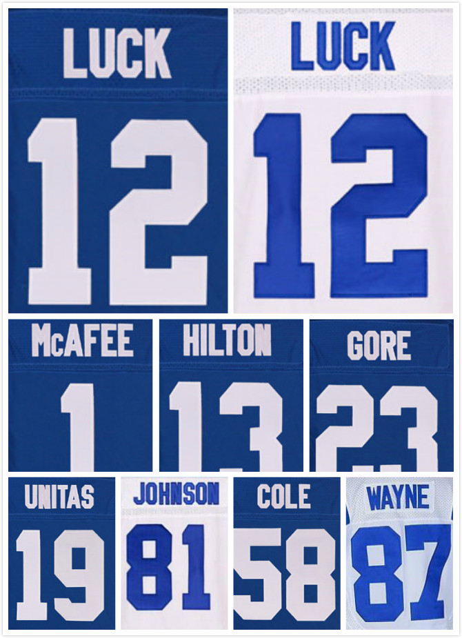 Cosido 12 Andrew Luck Jersey #1 Pat McAfee 13 TY. Hilton 81 Andre Johnson 87 Reggie Wayne Elite Jerseys(China (Mainland))