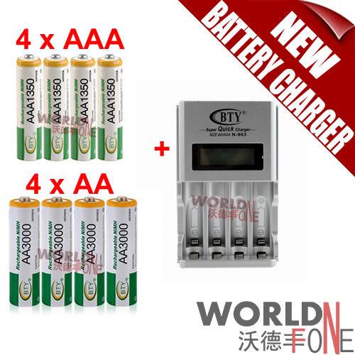 Гаджет  FS! BTY N-903 AA AAA Battery Charger + 4x AA 3000mAh Ni-MH Battery + 4x AAA 1350mAh 1.2V Ni-MH Rechargeable Battery (WF-BC18-01) None Электротехническое оборудование и материалы