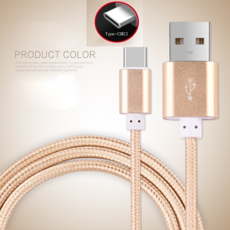 Original USB Type C Cable Nylon Line and Metal Plug Type-C USB for Xiaomi 5 4S 4C / Letv 1 2 S Pro/Leshi / Nokia N1 / ZUK-ZE etc