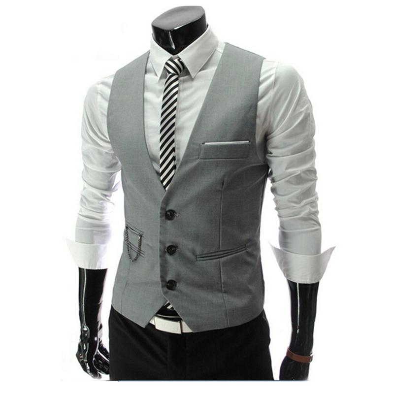 Vest Men 2015 Autumn Slim Brand Men's Fit Dress Suit Formal Mens Vests Waistcoats Gilet Colete Fashion Chaleco Hombre - Wischoo--Shopping Wise Choose store