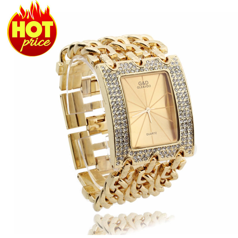 Luxury Women Quartz Wristwatch Gold Wrist Watch Crytstal Rhinestone Bracelet Band Rectangle Dial Fashion Party Gift - Mandy mall store