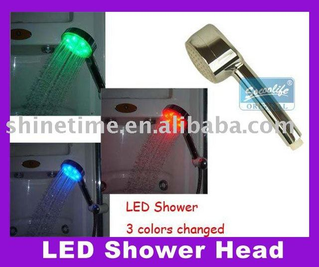 Free Shipping!water flow power no battery 4 Colors LED Shower Head Light,4 Colors flashing jump change