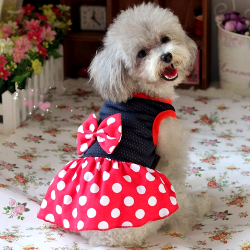 Mesh Breathable Dog Puppy Dress 0309tc Chihuahua Terrier Red Pants Bows Dots Summer Mickey Wedding Party Cat Clothes(China (Mainland))