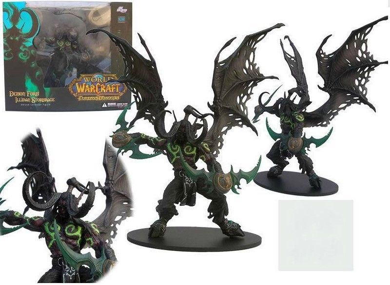 NEW wow World of Warcraft Demon Form ILLIDAN STORMRAGE Deluxe Collector Boxed Figure BLACK / Purple 2 styles(China (Mainland))