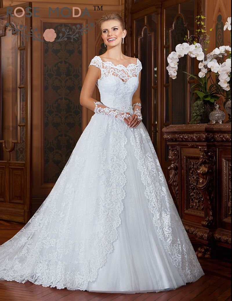 Buy scalloped off the shoulder lace full for Shorten wedding dress after wedding