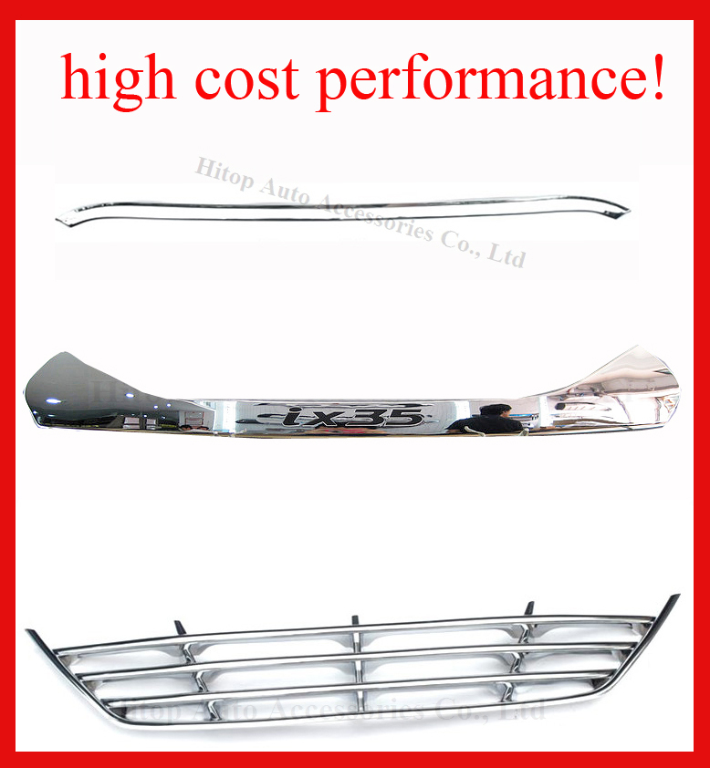 HYUNDAI IX35 ABS chrome front grille+grille around trim+engine hood trim, (total 3 pcs), 2009-2015, high cost performance!(China (Mainland))