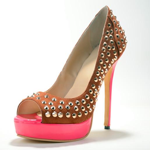 Rivets Thicken Deep Pink Platform 2015 Ladies Thin High Heels Pumps Slip-On Peep Toe Handmade Handmade Casual Suede Good Shoes<br><br>Aliexpress