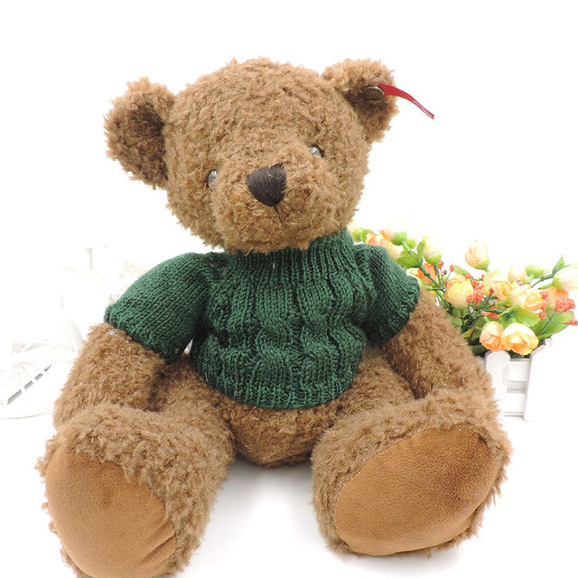 Чучела плюшевого мишку плюшевые игрушки кудрявый мех игрушечные в свитере сидя медведи Peluche Brinquedos для детей девушки подарки 375205110