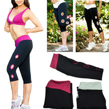 2014 New Women Lady Girl Sport Exercise Gym Leggings Capri YOGA Running Pants Mid Waist Cropped Fitness high elastic stretch