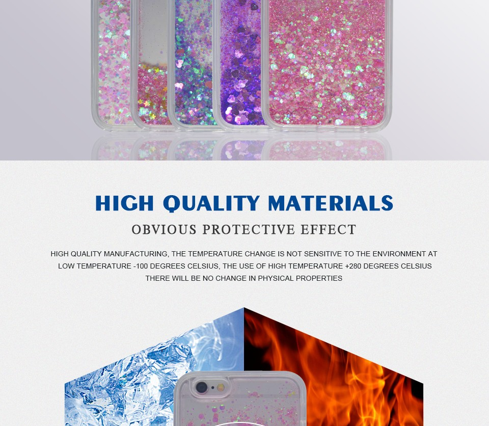 Girls Glitter Star Quicksand Liquid Hard Case Cover For Apple iPhone 5 5S SE 6 6S Plus With Anti-knock Silicone Side Phone Shell