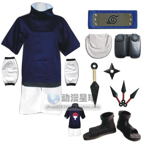 Hot sale Athemis Naruto Uchiha Sasuke Cosplay Costume and blue headband(China (Mainland))