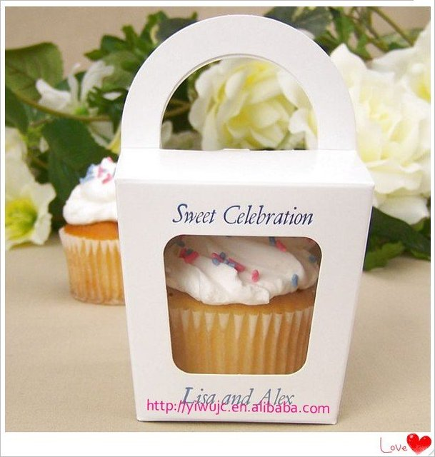 100pcs Wedding Tote Cupcake Boxes, Party Treats Box , Favor Box, Candy Box, Takeout Box (JCO-277)