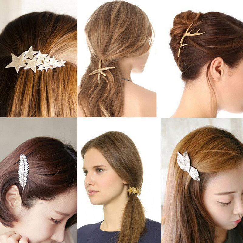2015 New Arrival Women's Vintage Fashion Hair Accessories Metals Leaf Gold Plated Antlers Stars Hairpin 16 Styles(China (Mainland))