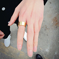 Minimalism Men's Ring Gold Plated 316L Titanium Steel Finger Rings For Men Women Triangle Couple Ring Fashion Brand Jewelry