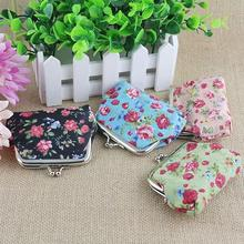 Small Rose Print Floral Bomboniera Buckle Wallet Bag Keys Pouch Coin Purse Gift(China (Mainland))