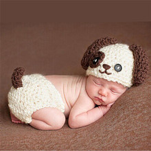 2016 Newborn Photography Props Lovely Infant Baby Big Ears Dog Handmade Kintted Crochet Hat Suit Baby Cap Photography Costume