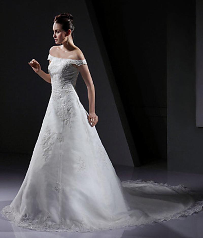 Vestidos De Noiva Cortos Лодка Шеи Бесплатная Доставка Украшение Элегантный Аппликации Свадебное Платье Вечернее Платье Длинные WeddingDresses 2016