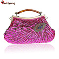 New Listing Women Fashion Tote Handbag Retro Hand beaded Sequined Peacock Shoulder Bag Day Clutches Evening