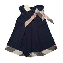 New 2015 baby dress casual kids clothes fashion bow baby clothing summer style dresses cotton child outfits plaid costumes(China (Mainland))