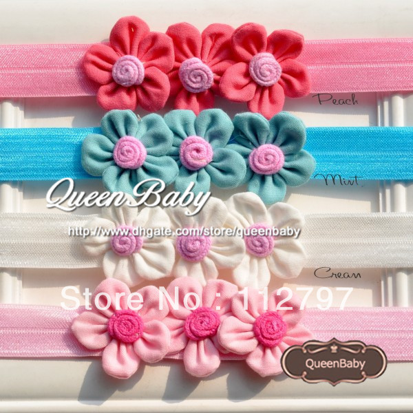 Triple Petite Fabric Flower Baby Headband Colorful Little Headbands with WIDE Elastic for Tiny Babies 30pcs/lot Trail Order(China (Mainland))