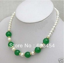 Wholesale cheap charming green jade and 7-8MM real white pearl necklace / Free Shipping(China (Mainland))