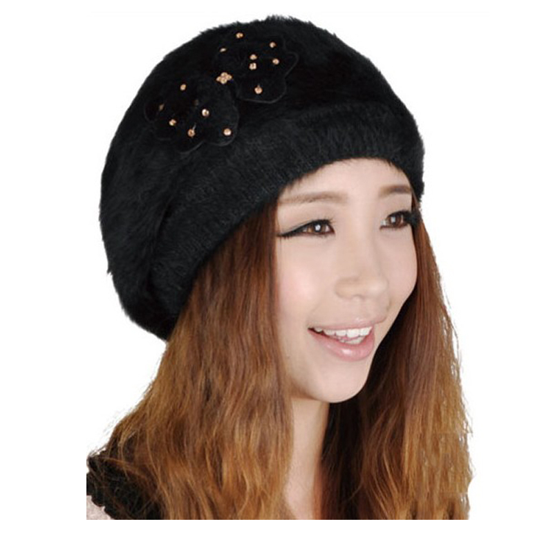 Spring Winter Female Knitted Hat Rabbit Fur Beret Cap Bowknot Hats Fashion New Brand Spirng Keep Warm Outdoor Thermal - Online Store 516272 store