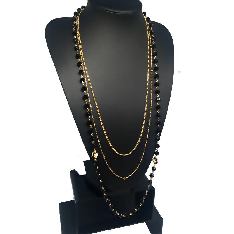 HTB1K7eLKpXXXXaRaXXXq6xXFXXX3 - Black Simulated Pearl Jewelry Three Layer Thin Chain Long Necklace Women Collier Perle Bijoux/Collares Perlas Largos/Bijouterie
