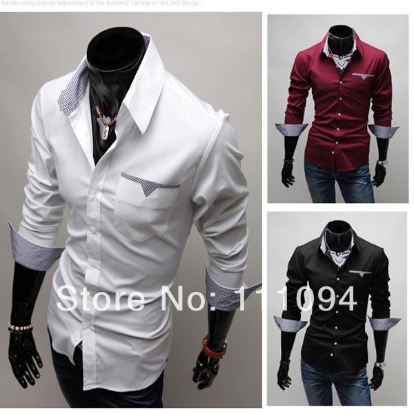 Men's clothing base 2014 Spring Slim Korean Fashion Long-sleeved shirts male big size black white wine redM-XXXL - store