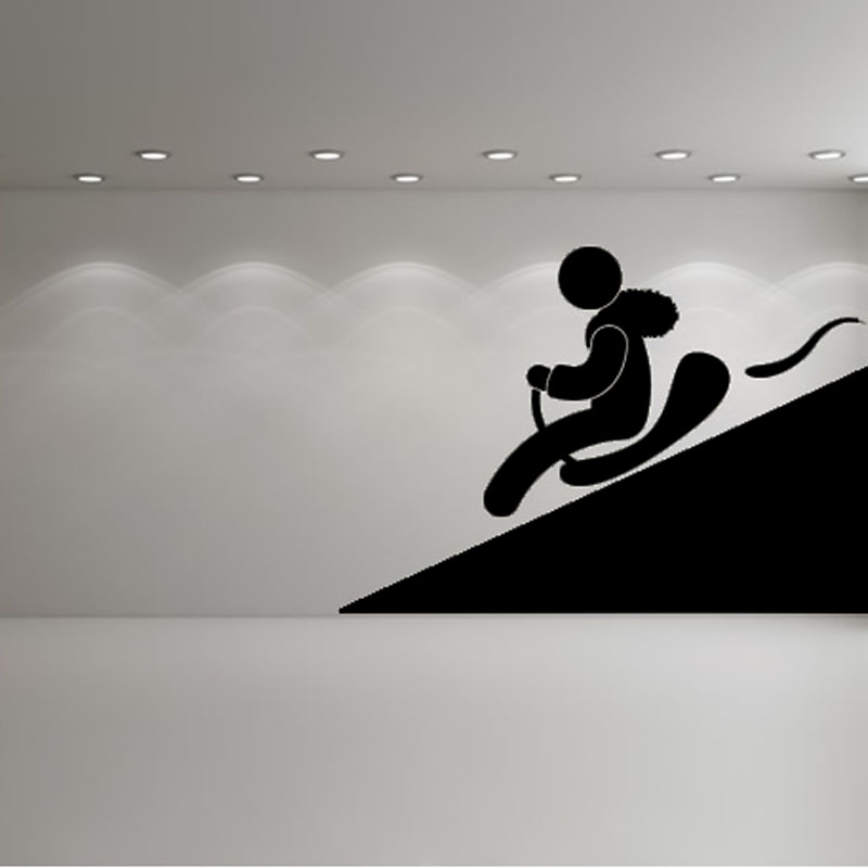 New Style Home Decor Winter Snow Sled Wall Decal Design Vinyl Removable Cartoon Sport Wall Stickers