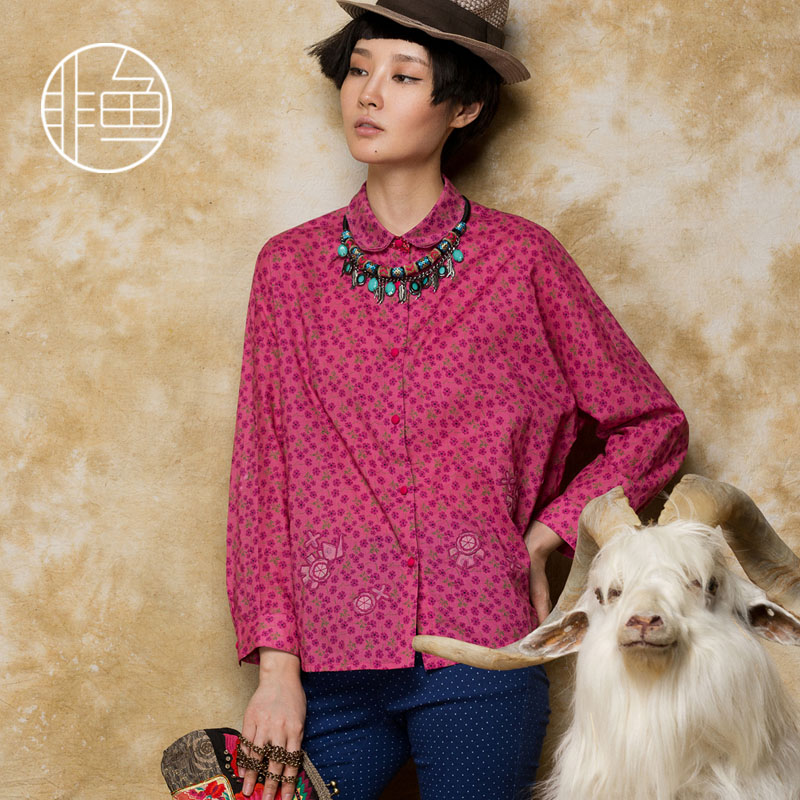 Whitebait red peter pan collar long-sleeve floral print shirt female loose batwing sleeve embroidered shirt original designОдежда и ак�е��уары<br><br><br>Aliexpress