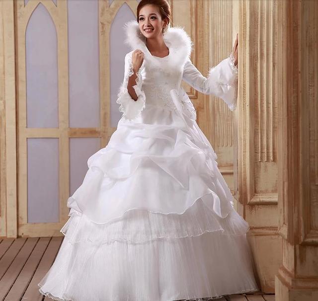 Бесплатная доставка 2016 нью-line с бантом полный рукав белого атласа свадебные свадебное ...
