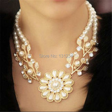wholesale luxury Simulated pearl chain rhinestone crystal flower choker necklace bead work jewelry for women(China (Mainland))