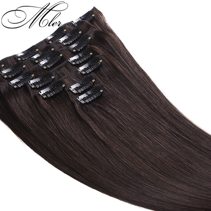 Hot Sale Human Hair Weft Brazilian Silky Straight Clip In Hair Extension #2 Color 7Pcs/Set Remy Hair Weaves Clip In Virgin Hair(China (Mainland))