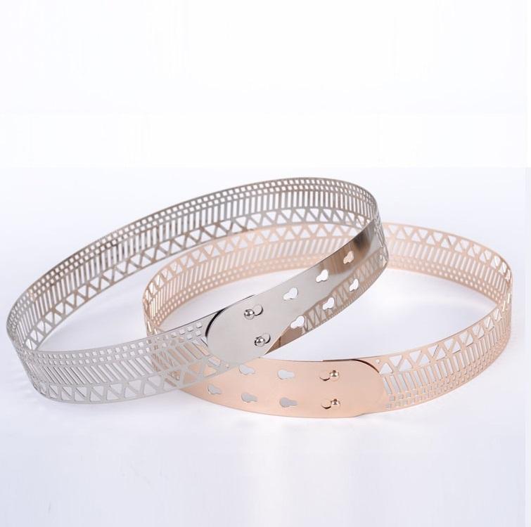width 4cm mirror belts metal waist belt flower metallic